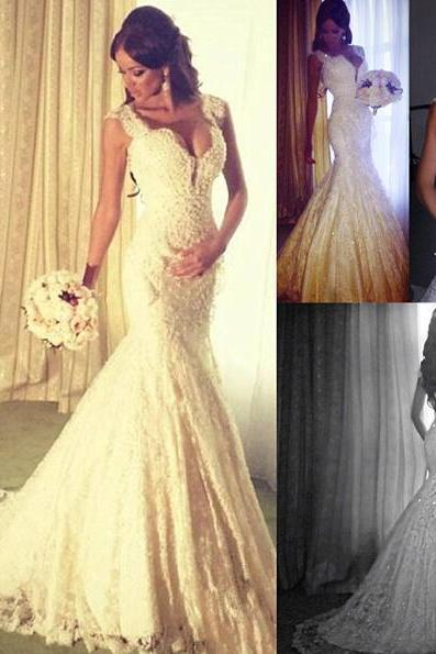 2016 Custom White Beading Wedding Dress, Sexy Sleeveless Mermaid Bridal Dress ,Sexy V-Neck Wedding Dress