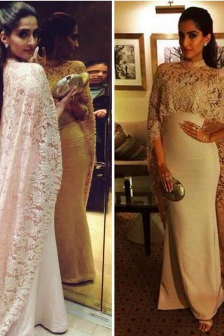 Charming White Sheath Prom Dress,Two Pieces Charming Dress With Lace Cape,Sexy See Through Prom Dress
