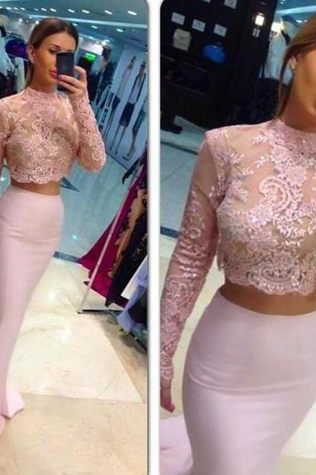 Charming Pink Lace Prom Dress,Two Pieces Evening Dress ,Sexy See Through Prom Dress
