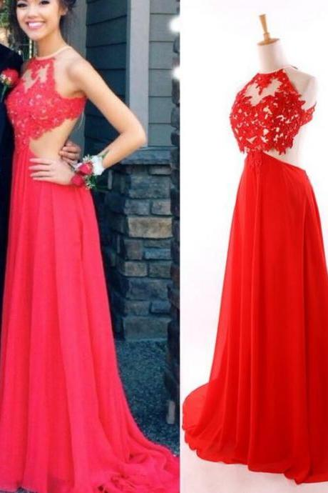 Charming Red Lace Chiffon Beading Prom Dress,Sexy Sleeveless See Through Evening Dress,Sexy Backless Prom Dress