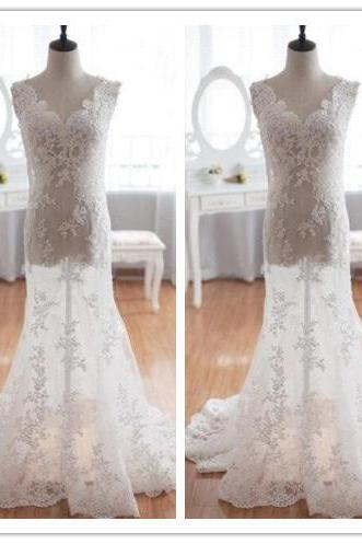 Wedding Dress, Wedding Dresses, A-Line Wedding Dress, Short Sleeve Wedding Dress, Empire Wedding Dress, Bridal Dress, Open Back Wedding Dress, Lace Wedding Dress, Floor Length Wedding Dress, Hot Sale Wedding Dress, High Quality Wedding Dress, Custom Made Wedding Dress