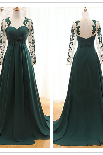 Prom Dress, Sheer Dark Prom Dress, Green Prom Dress, Long Sleeves Prom Dress, Sweetheart Prom Gowns, 2016 Prom Dress, Empire Prom Dress, Ruffle Prom Dress