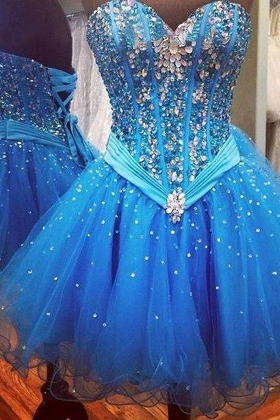 Homecoming Dresses,Rhinestone Homecoming Dresses,Organza Homecoming Dresses,Blue Homecoming Dresses,Sweetheart Homecoming Dresses,Cheap Homecoming Dresses