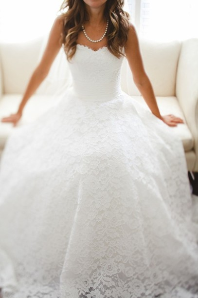 2016 Custom Charming White Lace Wedding Dress,Sexy Sweetheart Strapless Bridal Dress,Sexy Open Back Wedding Dress