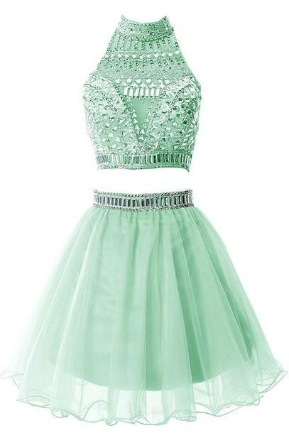2016 Custom Charming Green Beading Short Homecoming Dress,Sexy Halter Evening Dress,Sexy Backless Chiffon Prom Dress