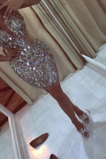 2016 Custom Charming Shiny rhinestone Beading Homecoming Dress,Sexy Halter Evening Dress,Sexy Deep V-Neck Long Prom Dress