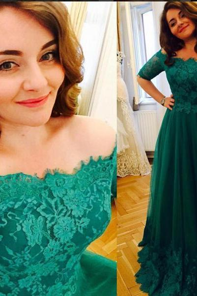 Princess Green 2016 Lace Prom Dresses Short Sleeve A Line Tulle Prom Gowns Vintage Plus Size Evening Formal Dress