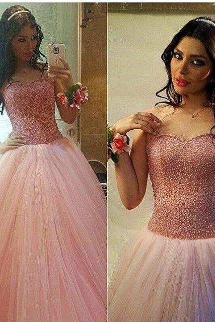 Sweetheart Pearl Beading Puffy Princess Pageant Dresses Floor Length Tulle Ball Gown Prom Dresses