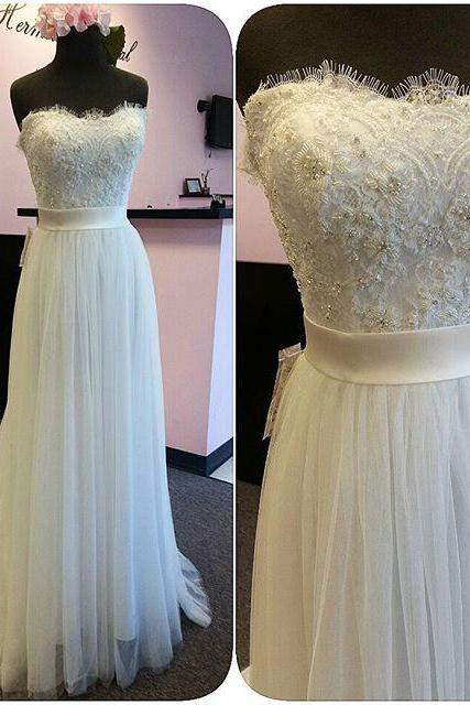Custom Made Beaded Embroidery Sweetheart Neckline Eyelash Lace Tulle Floor-Length Evening Dress, Prom Dresses, Long Party Dress, Wedding Dress
