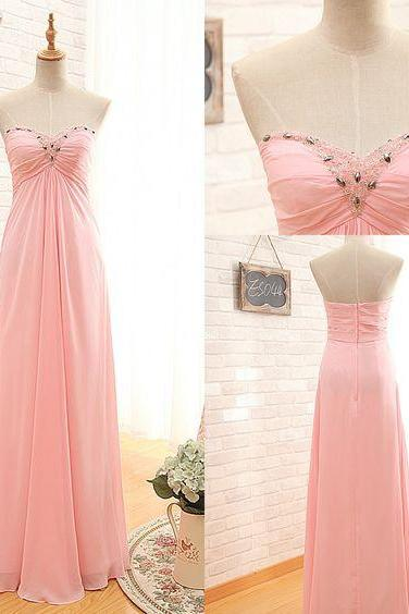 Charming Prom Dress,Pink Chiffon Prom Dresses,Sweetheart Prom Dress,Long Prom Dresses