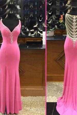 Charming Prom Dress,V Neck Mermaid Prom Dress,Beading Prom Dress,Long Evening Dress,Formal Gown
