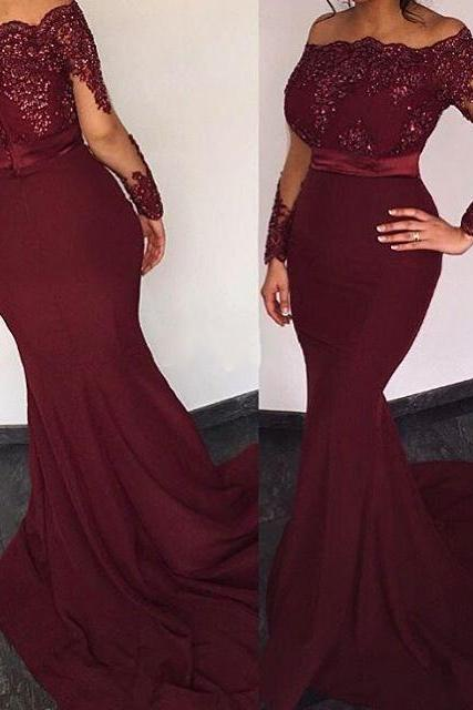 Charming Prom Dress,Burgundy Mermaid Prom Dress,Long Prom Dress,Sexy Prom Dress,Evening Formal Gown