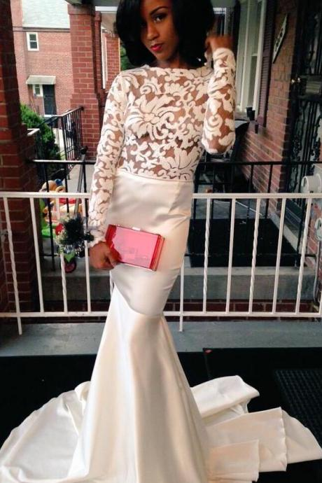 Mermaid Prom Dress,White Prom Dresses,Long Evening Formal Dress