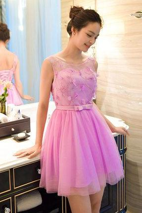 Charming Prom Dress,Tulle Prom Dress,Hot Pink Homecoming Dress,Homecoming Dresses,Short Prom Dress