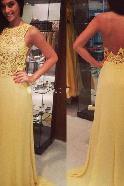 Yellow Chiffon Prom Dress,Sexy Backless Prom Dress,Long Evening Dress,Formal Dress