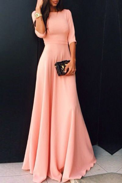 Pink Round Neck Prom Dress, Half Sleeve Maxi Dress