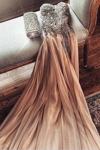 Strapless chiffon open back modest long sweetheart prom dress ,Sexy beading tulle evening dress