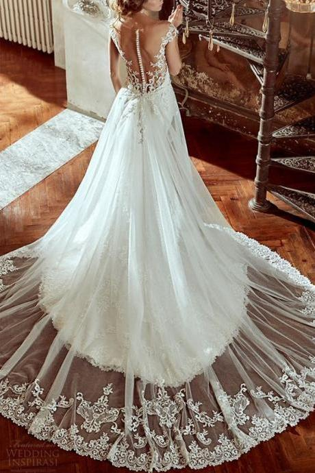 2016 Custom Charming White Lace Wedding Dress,Sexy Open Back Bridal Dress