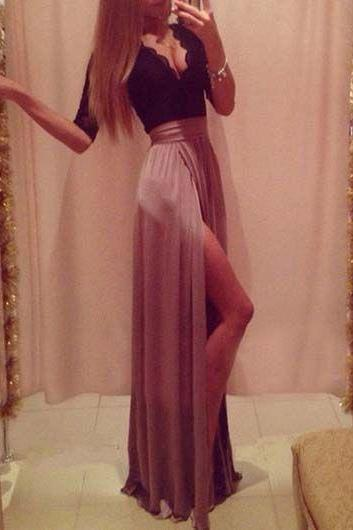 2016 Custom Elegant Chiffon Prom Dress,V Neck Lace Evening Dress,Middle Sleeves Dress with Slit