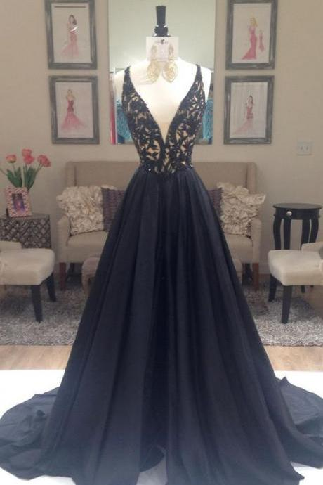 pretty black chiffon lace long prom dress ,2016 for teens, unique cute long dresses