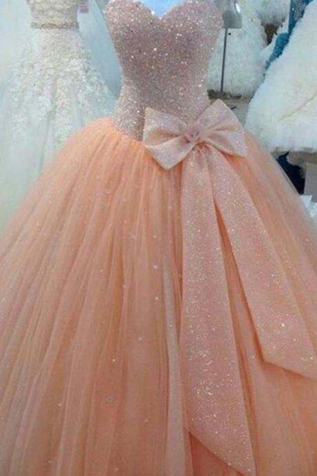 Sequins Sweetheart Spaghetti Strap Floor Length Tulle Ball Gown Featuring Bow Accent, Prom Gown, Formal Gown