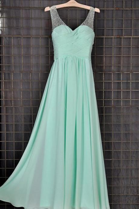 2017 Custom Mint Beaded Long Bridesmaid Dresses, Simple Prom Dress, Party Dresses,Evening Dresses,Wedding Party Dresses, Bridesmaid Dresses