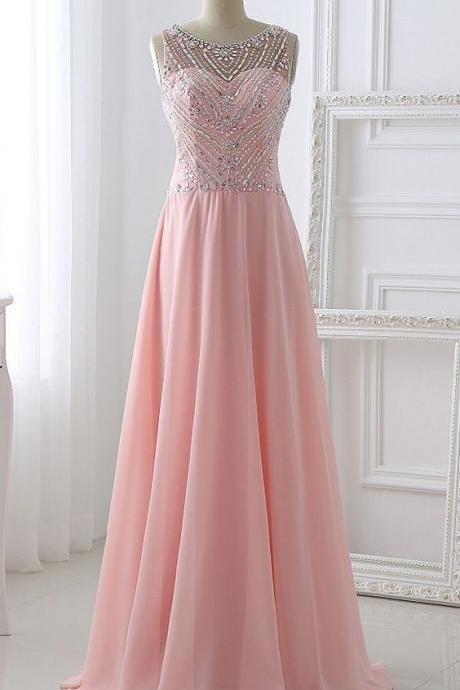 2017 Custom Charming Pink Chiffon Prom Dress,Beading Evening Dress,Sleeveless Prom Dress