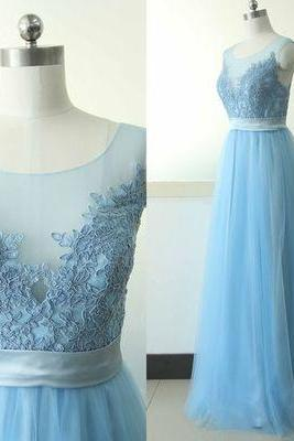 2017 Custom Elegant Blue Prom Dress,O-Neck Prom Dress,Appliques Prom Dress,See Through Evening Dress