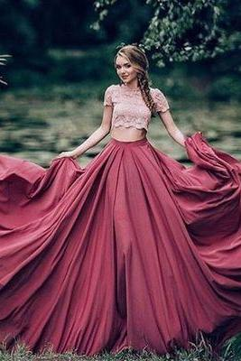2017 Custom made Two pieces prom dress,lace long prom dress,pink+burgundy evening dress