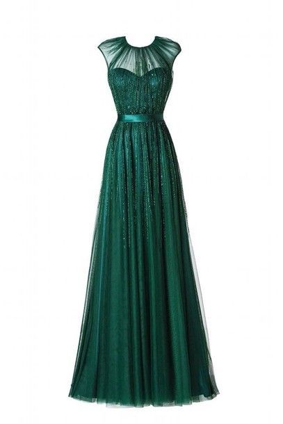 2017 Custom Made Charming Green Chiffon Prom Dress,Tulle Prom Dress,O-Neck Prom Dress,Sequined prom Dress,A-Line Evening Dress
