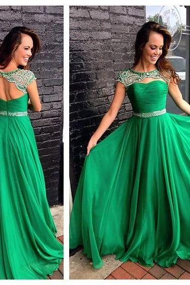 2017 Custom Made Charming Prom Dress,O-Neck Prom Dress,Backless Prom Dress,Chiffon Prom Dress,Beading Evening Dress