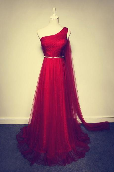 2017 Custom Made Charming One-Shoulder Beading Prom Dress,Charming Red Prom Dress,Tulle Prom Dress,A-Line Lace Prom Dress