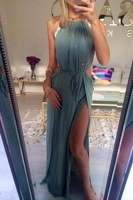 2017 Custom Made Sexy Side Slit Prom Dress,Halter Prom Dress,Chiffon Prom Dress,Beach Evening Dress