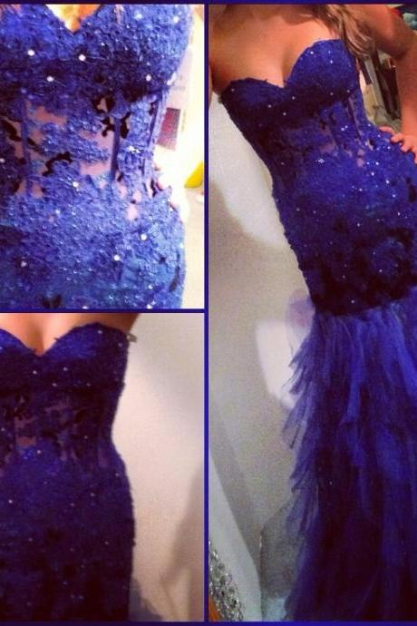 2017 Custom Made Charming Royal Blue Prom Dress,Appliques Beading Evening Dress,Mermaid Sweetheart Prom Dress