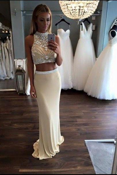 2017 Custom Made White Two Pieces Prom Dress,Halter Beading Evening Dress,Sexy Sleeveless Party Gown, High Quality