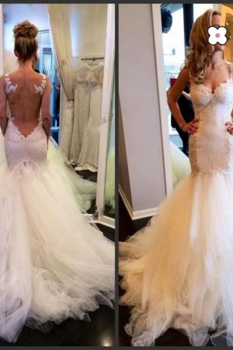 2017 Custom Made White Tulle Wedding Dress, Spaghetti Straps Evening Dress,Appliques Party Gown,Open Back Pegeant Dress, High Quality