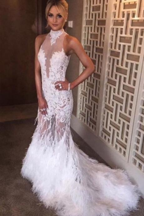 2017 Custom Made White Wedding Dress,Lace Halter Bridal Dress,See Through Wedding Gown,Sleeveless Wedding Dress, High Quality