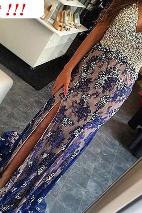 2017 Custom Made Lace Prom Dress,Beading Crystals Party Dress,V-Neck Evening Dress,Side Slit Prom Dress