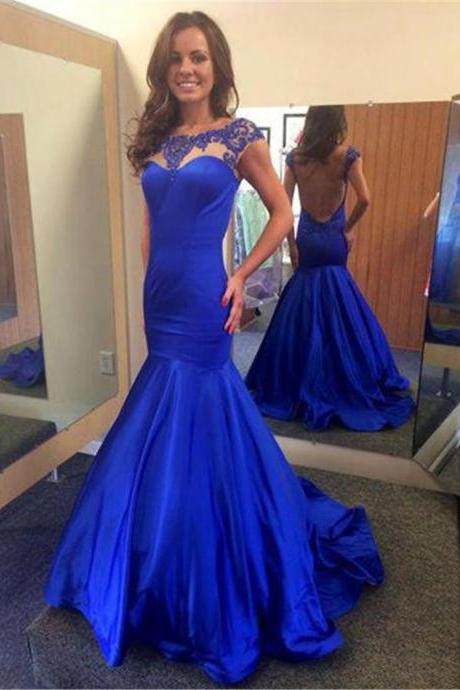 2017 Custom Made Royal Blue Prom Dress,Sexy Beading Evening Dress,Mermaid Party Dress,High Quality