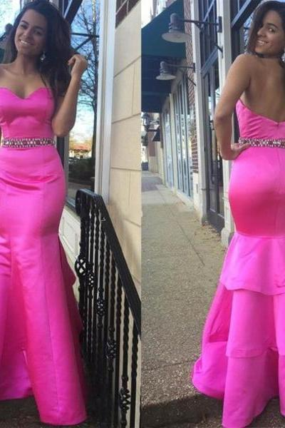 Custom Made Pink Sweetheart Neckline Floor Length Tiered Mermaid Satin Prom Dress with Crystal Beaded Waistline