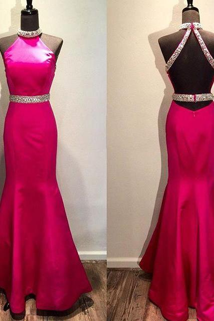 Beautiful Hot Pink Prom Dress,Mermaid Prom Dresses,Long Evening Dresses,Halter Backless Prom Gowns