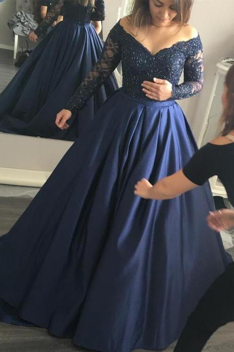 Prom Dress, New Arrival Prom Dress,Modest Prom Dresses,Long Sleeves Navy Blue off the shoulder Ball Gowns Prom Dresses Lace Appliques Evening Gowns