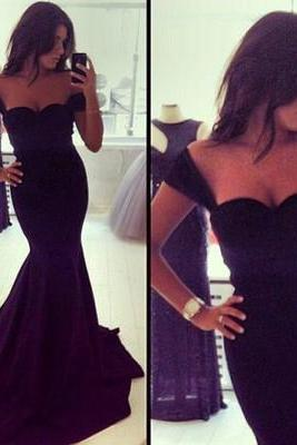 Off shoulder prom dress,mermaid prom dress,black prom dress,simple prom dress,evening dress,junior prom dress