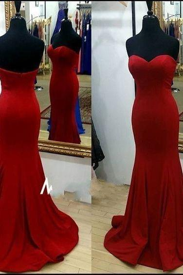 Red Satin Sweetheart Floor Length Mermaid Prom Dress Featuring Sweep Train, Formal Dress