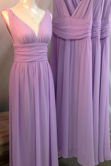 Charming Bridesmaid Dress,V-Neck Bridesmaid Dress,Chiffon Bridesmaid,Brief Long Prom Dress