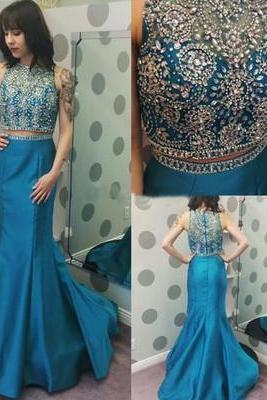 Two Pieces Beading O-Neck Prom Dresses,Long Prom Dresses,Cheap Prom Dresses, Evening Dress Prom Gowns, Formal Women Dress,Prom Dress