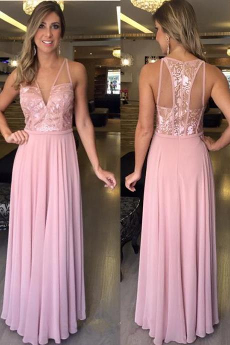 Charming Prom Dress,Sleeveless Chiffon Prom Dress,Long Evening Dress,Sexy Party Dress