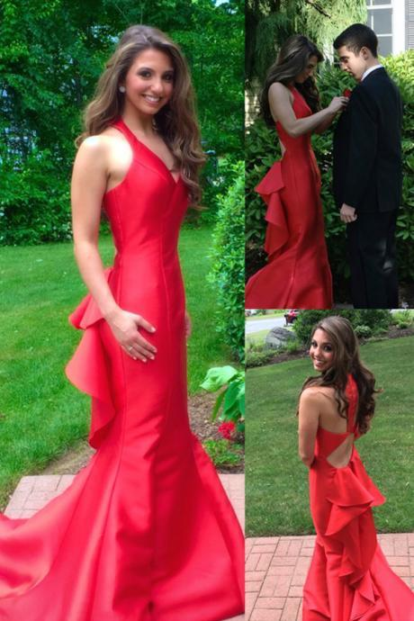 Gorgeous Mermaid Red Prom/Evening Dress with Cascading Ruffles