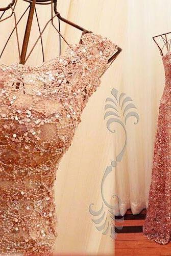 2017 Custom Made Blush Pink Prom Dress,One Shoulder Evening Dress,Sequined Beaded Party Dress,High Quality