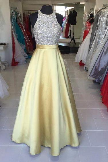 Long Beading Gold Satin Prom Gowns,O-neck Prom Party Dresses 2016,New Arrival Wedding Party Dresses